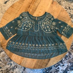 FP embroidered peplum top